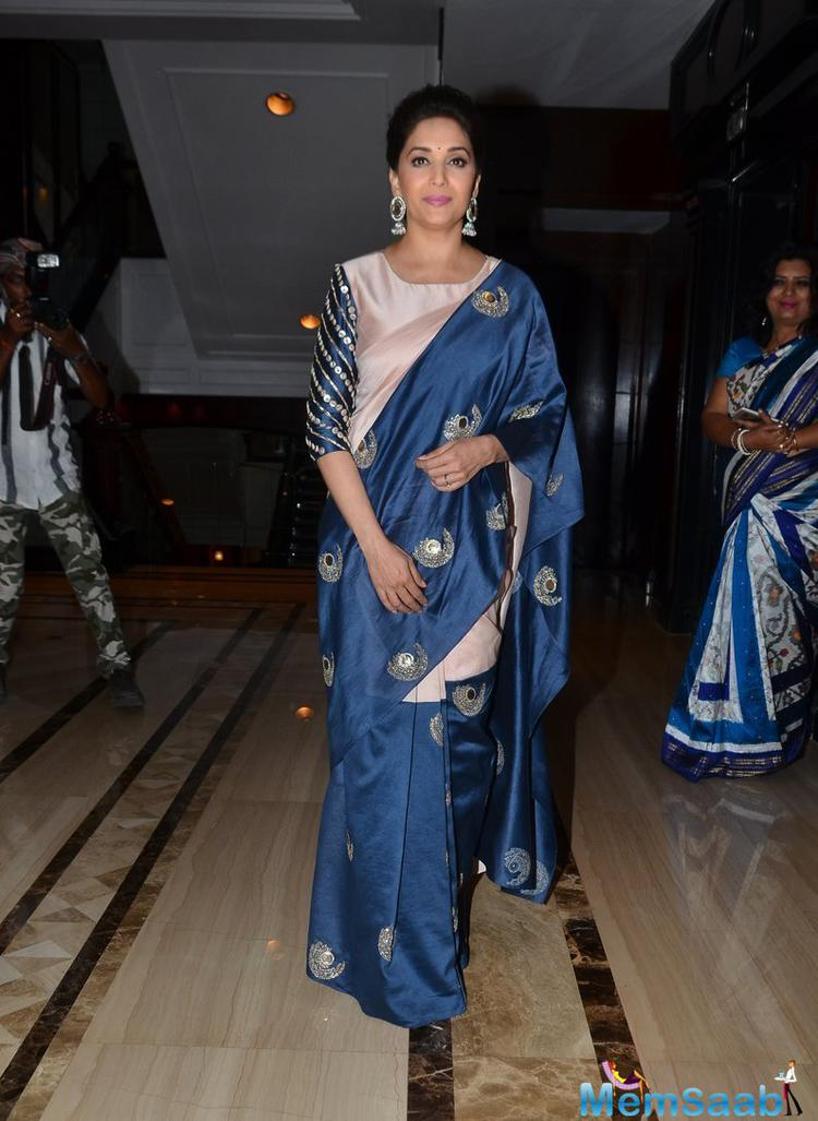 Bollywood Dhak Dhak Girl Madhuri Dixit Looking Gorgeous In A Payal Singhal Saree