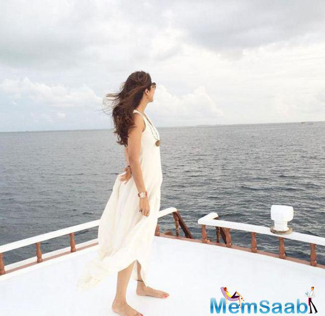 Shilpa Shetty Stands On The Deck Of A Boat