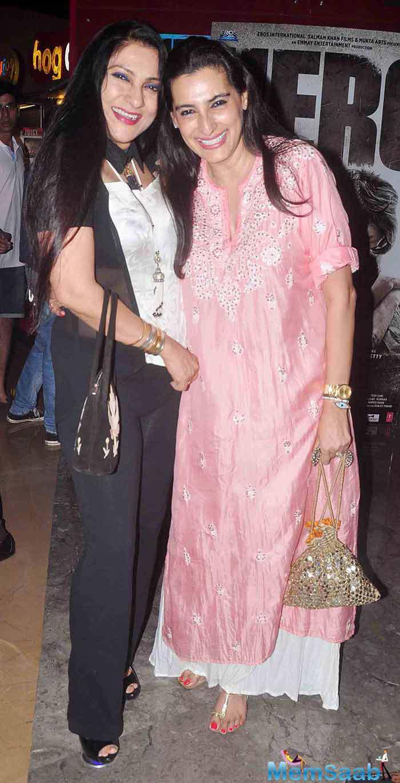 Aarti Surendranath And Mana Shetty Smiling Pose During The Hero Movie Screening