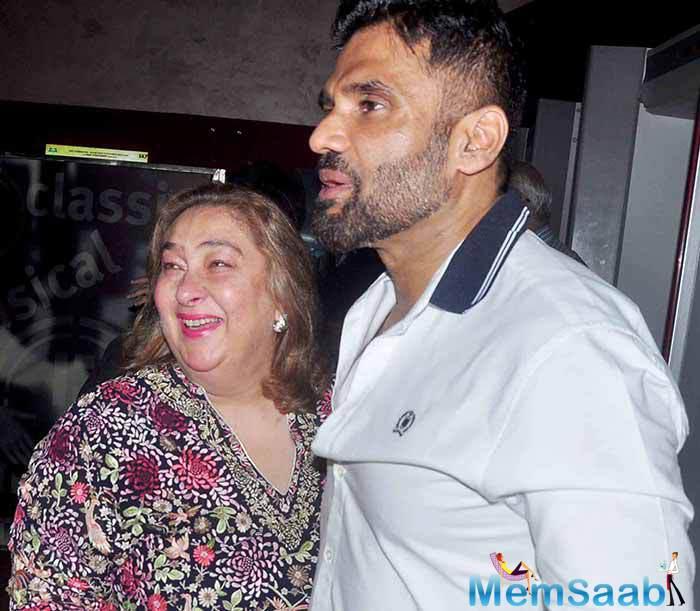 Reema Jain And Sunil Shetty Cool Look At The Screening Of Hero Movie