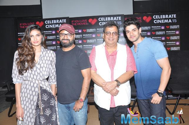 Athiya Shetty,Nikhil Advani,Subhash Ghai And Sooraj Pancholi Posed At Whistling Woods