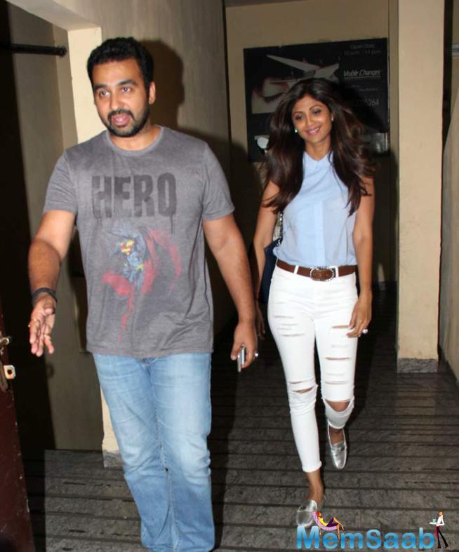 Shilpa And Her Husband Raj Kundra For A Movie On Sunday
