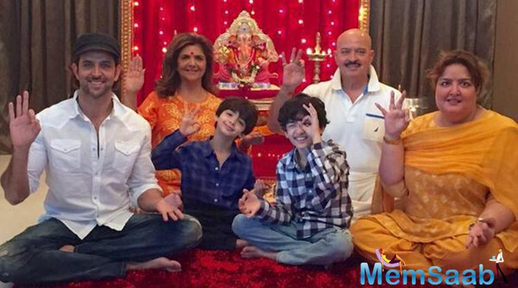 Hrehaan And Hridhaan Celebrates Ganpati With Their Dad And Grandparents