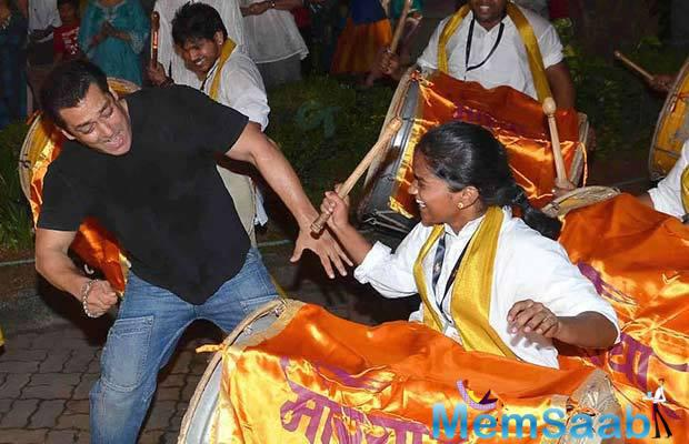Salman Khan Has Some Fun With The Drums