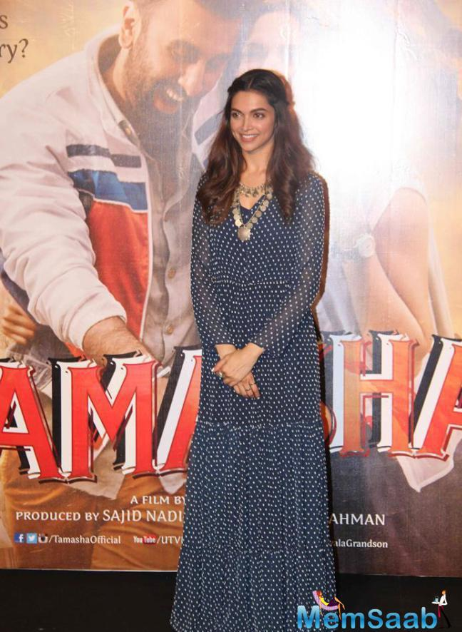 Deepika Looked Beautiful In A Printed Blue Saloni Maxi Dress That Complemented Her Slim Figure