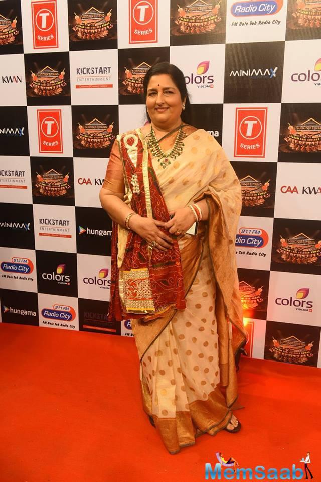 Anuradha Paudwal Graced On Red Carpet At Suron Ke Rang Color Ke Sang Musical Event
