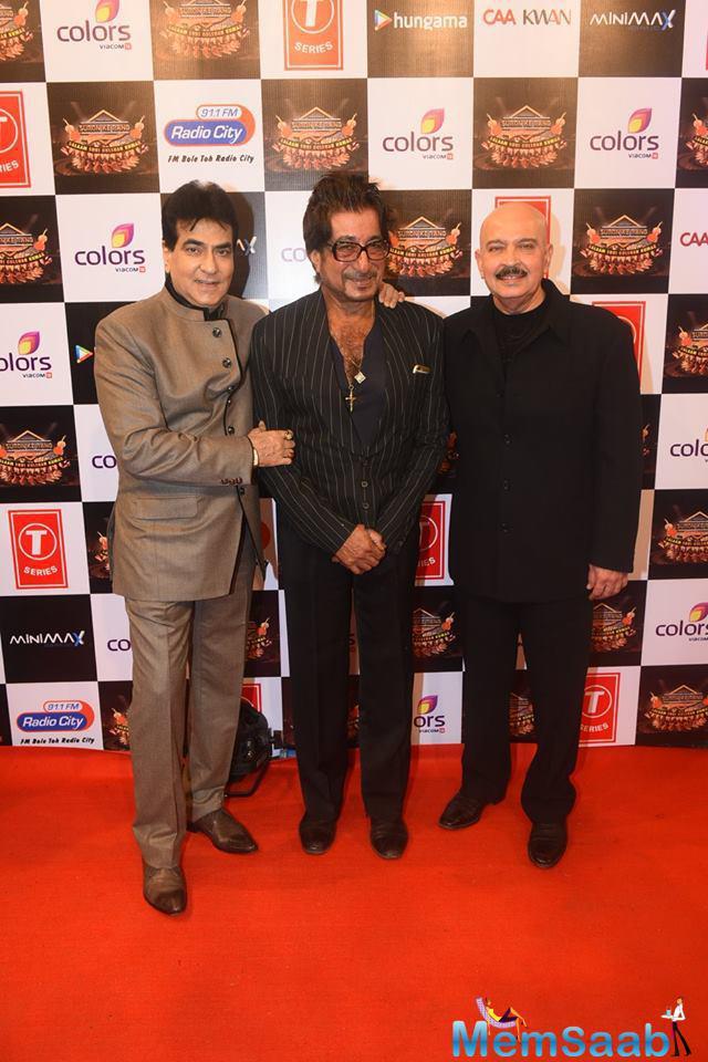 Jeetendra,Shakti Kapoor And Rakesh Roshan Clicked At Suron Ke Rang Color Ke Sang Musical Event