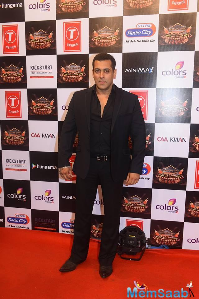 Salman Khan Handsome Look In Black Suit At Suron Ke Rang Color Ke Sang Musical Event