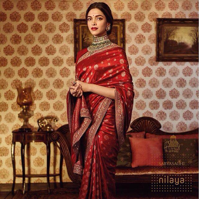 Deepika Padukone Looks Stunning In The Red And Golden Kanjeevaram Saree