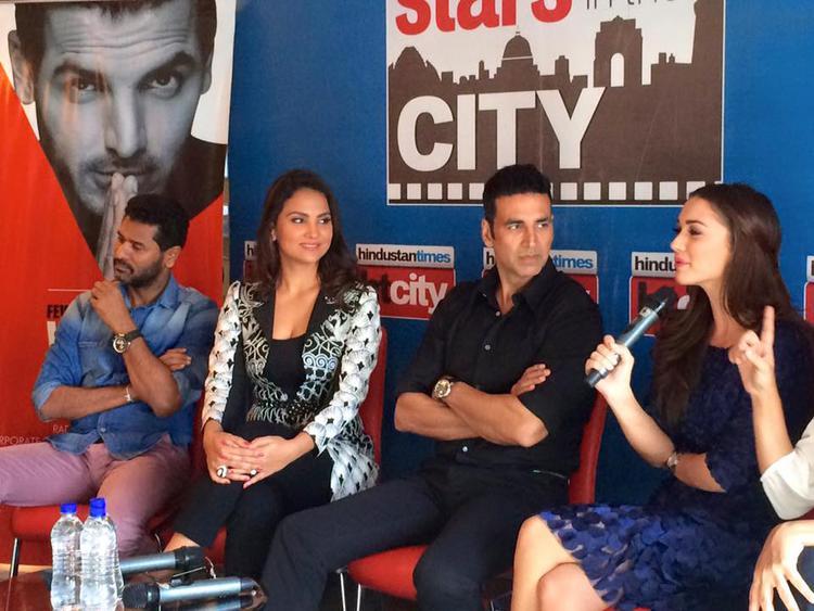 Prabhu Deva,Lara Dutta,Akshay Kumar And Amy Jackson Promote Singh Is Bling Movie At HT City