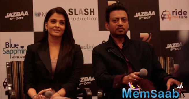 Aish And Irrfan Attend A Pressmeet In Delhi For Jazbaa Promotion