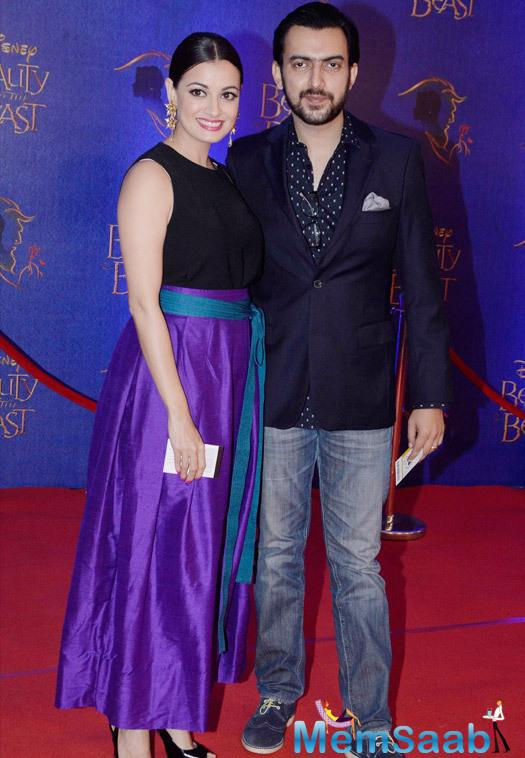 Dia Mirza Posed With Hubby Sahil Sangha At The Disney Beauty And The Beast Red Carpet