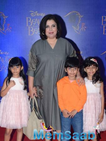 Farah Khan Posed With Kids During The Disney Beauty And The Beast Red Carpet