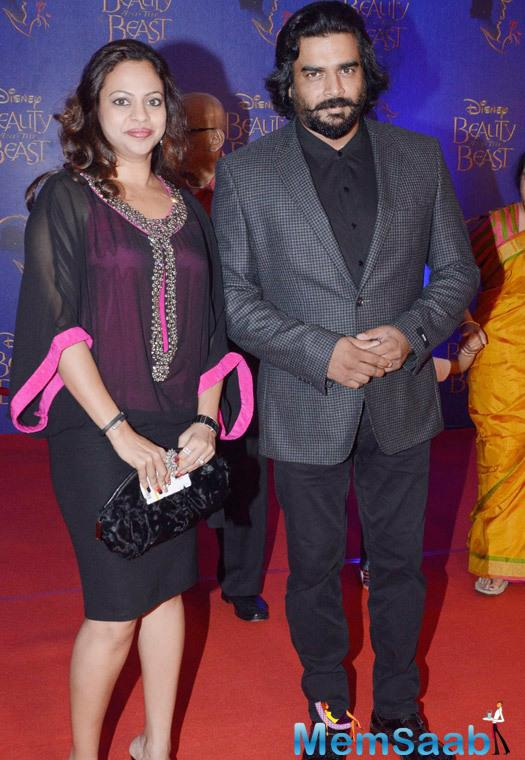 R. Madhavan And Wife Sarita Birje At The Disney Beauty And The Beast Red Carpet