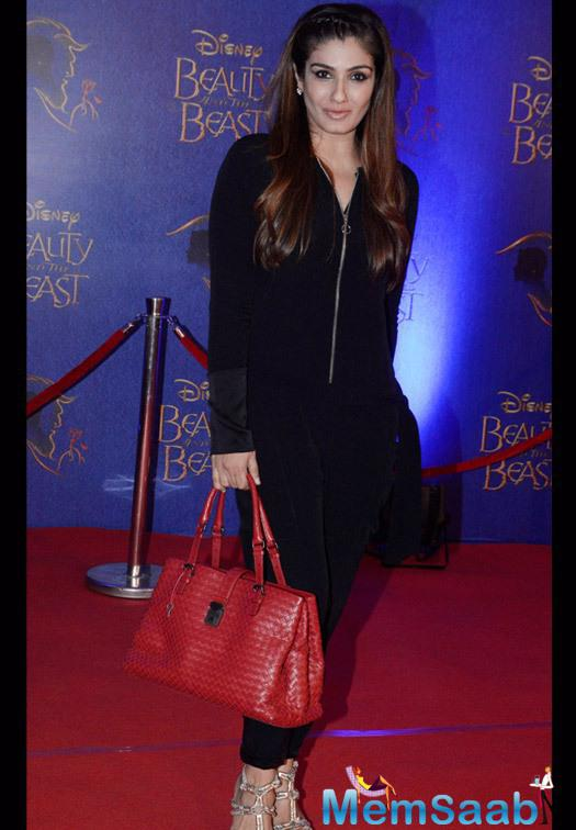 Raveena Tandon Graced During The Disney Beauty And The Beast Red Carpet