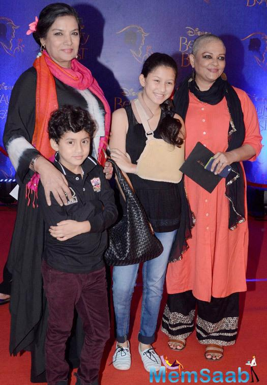 Shabana Azmi And Tanvi Azmi With Kids Attend The Disney Beauty And The Beast Red Carpet