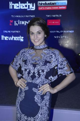 Taapsee Pannu Smiling Look During Exhibit Tech Awards