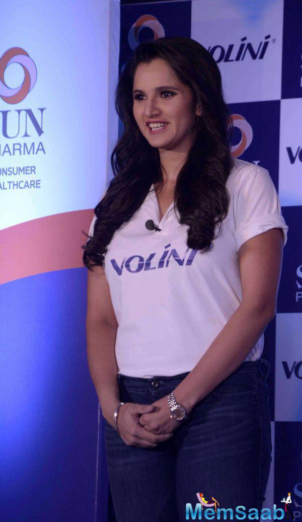 Tennis Star Sania Mirza Smiling Pose During Volini Press Meet