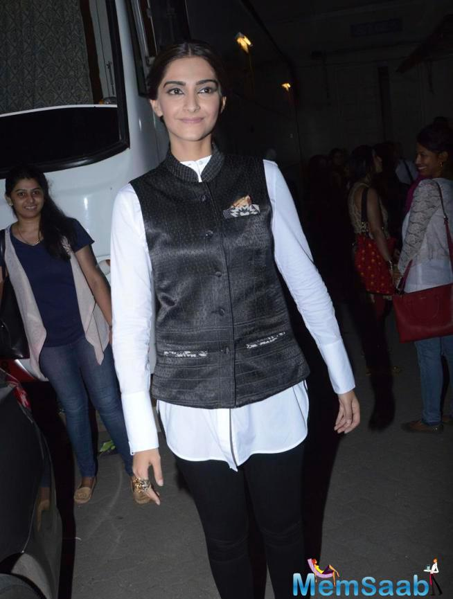 Sonam Kapoor Spotted At Mehboob Studios With Quite Quirkily Dressed