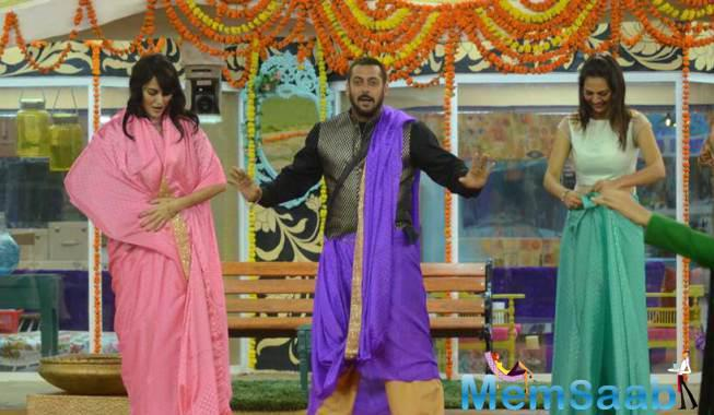 Salman Khan Wins Saree Draping Compitition From Rochelle And Mandana