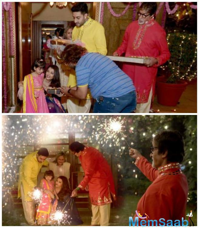 Seen Here Youngest Bachchan Enjoying The Festival Of Lights With Her Family