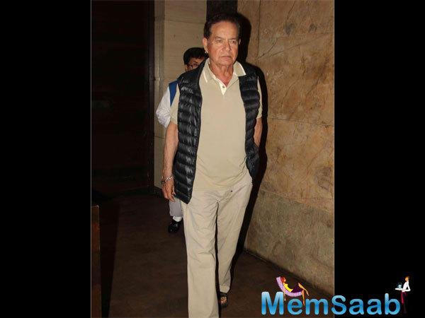 Salman's Father Salim Khan Arrives At The Premiere