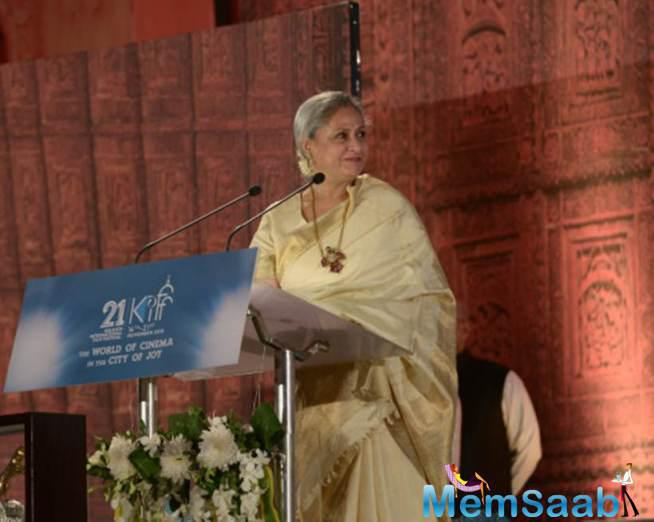 Jaya Bachchan Podium Still At 21st Edition Of Kolkata Film Festival