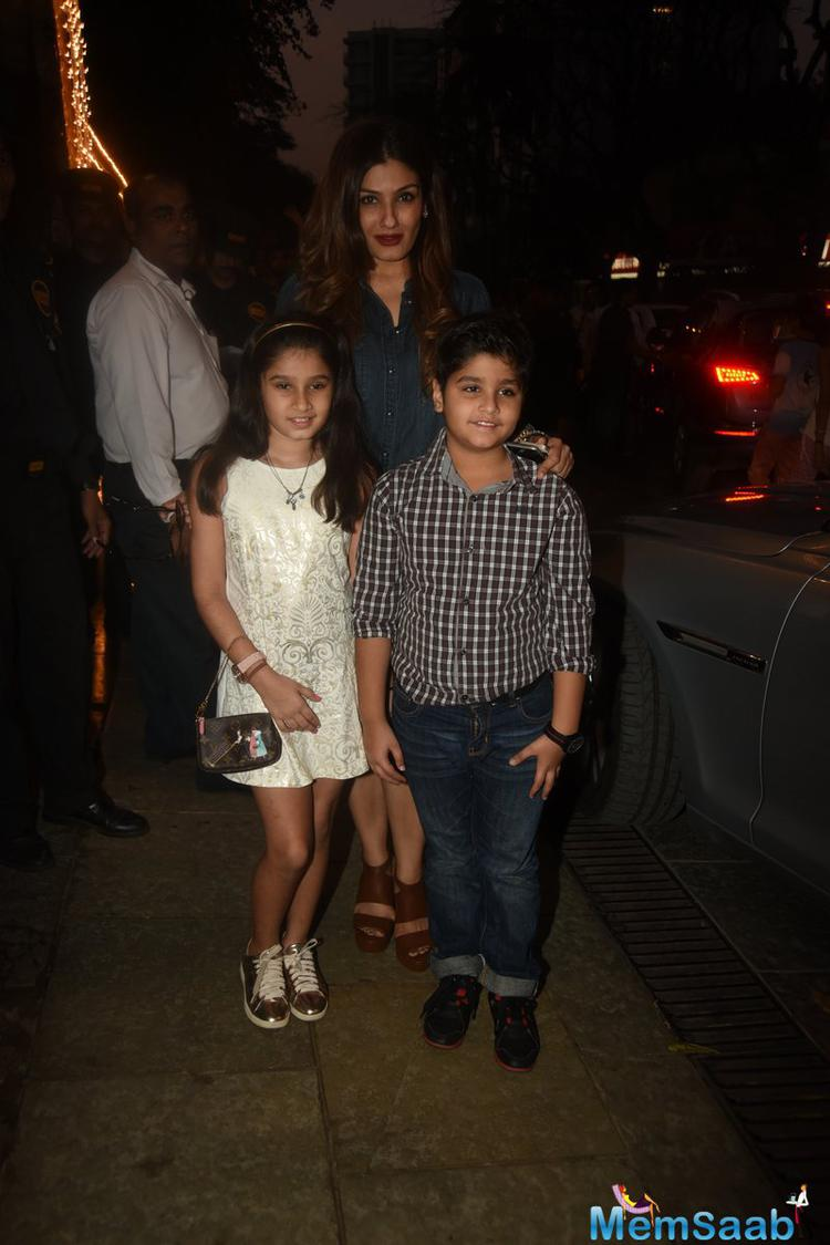 Raveena With Her Two Kids Spotted At Disney Princess Aaradhya B'day Party