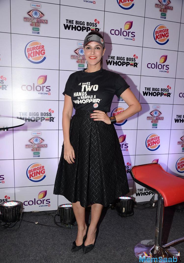Neha Dhupia Dressed Up All Black For Burger King Event
