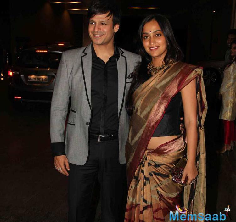 Actor Vivek Oberoi Was Seen With Wife Priyanka Alva At Grand Wedding Reception