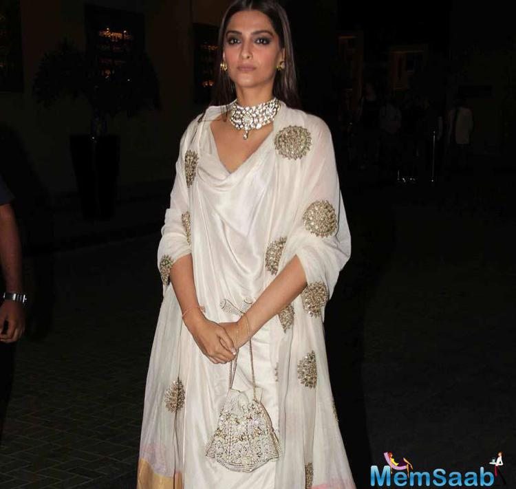Sonam Kapoor With White Attire Snapped At Masaba's Wedding Reception