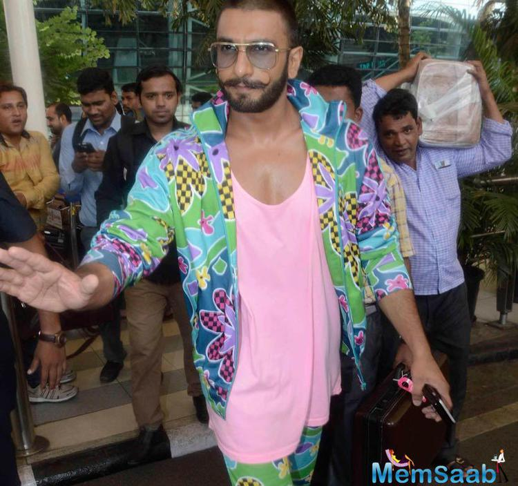 Ranveer Seen At Airport With A Funny Attire