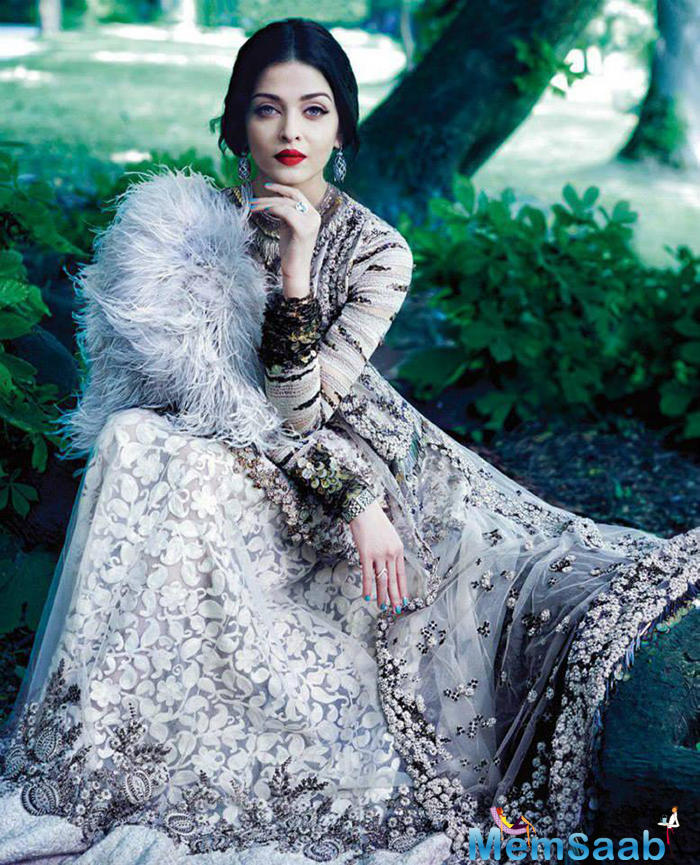 Aishwarya Dapper In Sabyasachi Outfit During Harpers Bazaar Bride Shoot