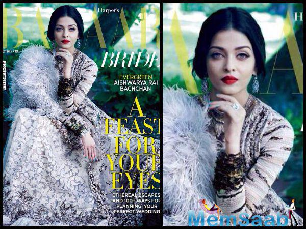 Evergreen Aishwarya Royal Bride Look For Harpers Bazaar Bride Dec Issue