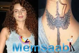 Kangana Ranaut got her old always she love does things on her own ways small tattoo on her neck interprets as the warrior angel