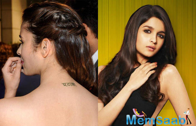 Simply awesome Alia Bhatt and her tattoo had to be awesome Pataka in Hindi in English it means Bomb this precious newbie has gotten the word pataka inked on the nape of her neck