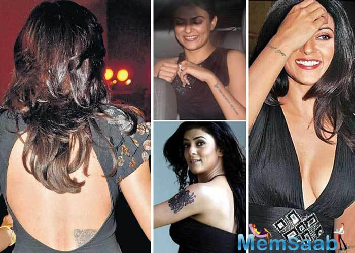 Sushmita Sen has 7 tattoos on her bodys   but the best one is the art on her forearm which reads Aut Viam inveniam aut faciam  meaning I will find a way or make my own