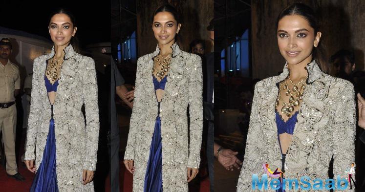 Deepika Attended The Umang Police Show Wearing A Cobalt Blue Anamika Khanna Lehenga