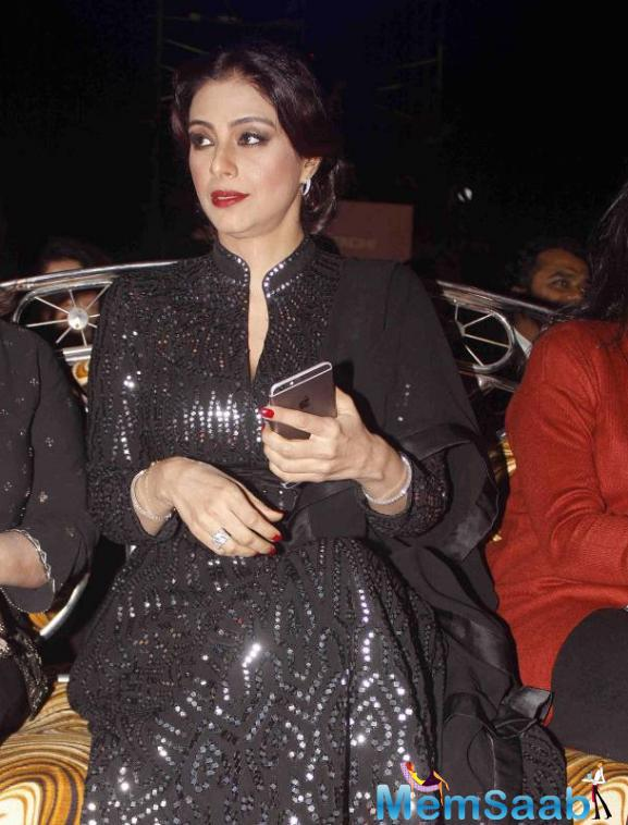 Tabu Surprised Wearing A Black Anarkali From Abu Jani Sandeep Khosla