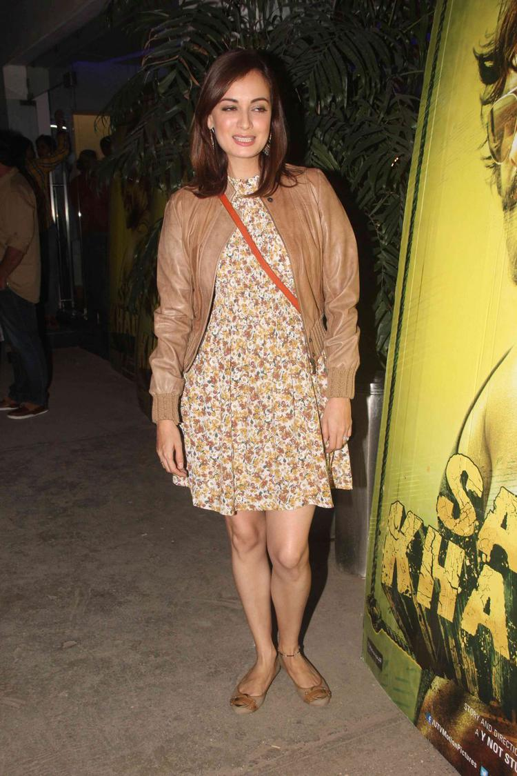 Cool Dia Mirza in short dress with jacket spotted at Saala Khadoos special screening