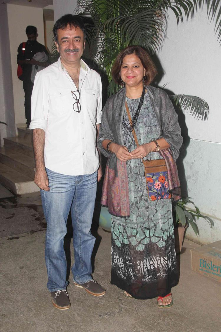 Rajkumar Hirani and Manjeet at sunny super sound studio for Saala Khadoos special screening