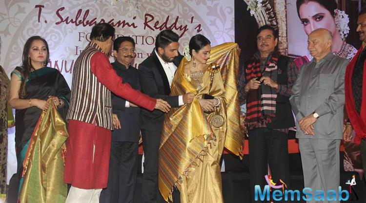 Rekha was honoured with the Yash Chopra Memorial Award on Monday evening in Mumbai for her contribution to the film industry