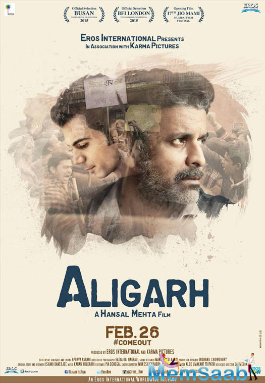 Manoj Bajpai and Rajkummar Rao starrer 'Aligarh' movie poster