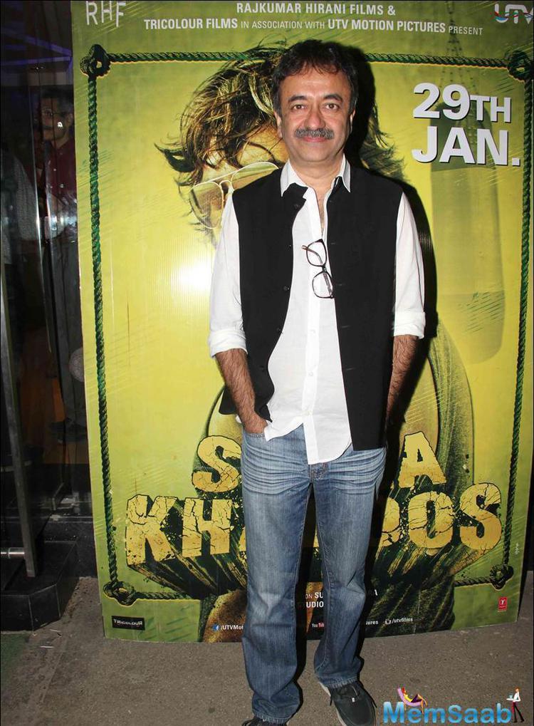 Rajkumar Hirani also spotted at Saala Khadoos screening, which is releasing on 29 Jan