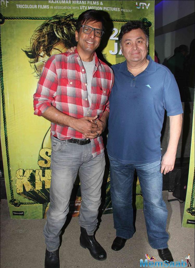 Rishi and Javed Jafferi arrived to watch the sports drama film Saala Khadoos