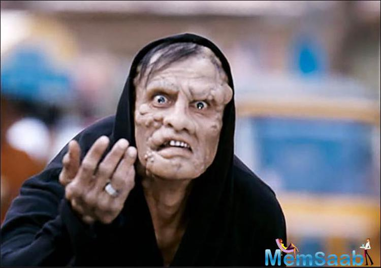 In movie I Tamil actor Vikram had to put on garish make-up to look like the crooked, pimple infected balding monster.