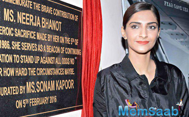 This Friday, Sonam was visiting St. Xavier's College, where Neerja studied, and unveiled  a stone plaque featuring Neerja's name and details of her achievements. The stone will adorn a wall of the institute.