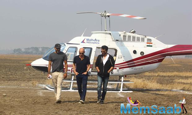 Abhinav Deo, Anil Kapoor and Howard Gordon during the on location shoot of TV serial '24' season 2. And discussion about their series