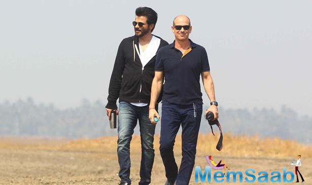 Anil, who plays the lead role in the TV show, poses with Howard Gordon on the location of 24 second season in Mumbai