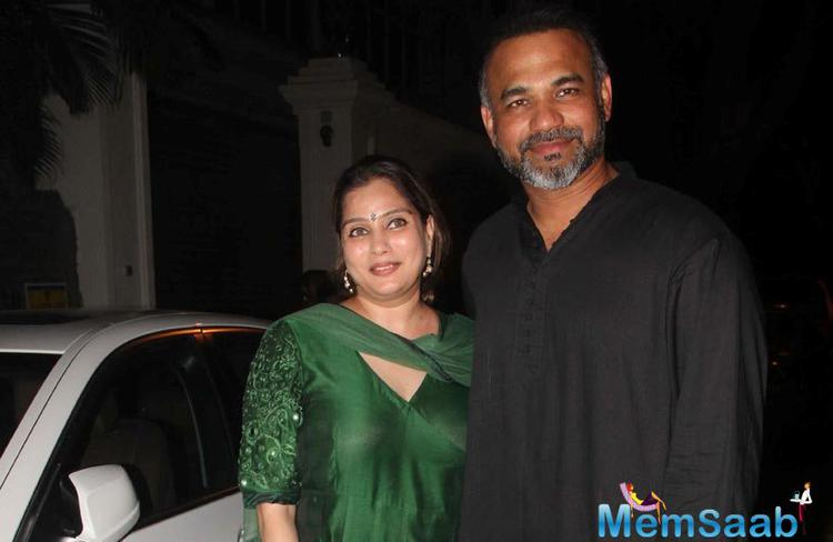 Director Abhinay Deo with his wife spotted at Anil Kapoor's party